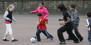 Children at Wapping mini-clubs enter the Neighbourhood Games