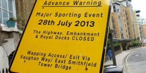 London Triathlon road closures for Wapping – 28 July 2013