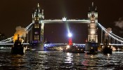 Ships' Opera perform in front of Tower Bridge on the River Thames