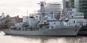 HMS Argyll arrives in London