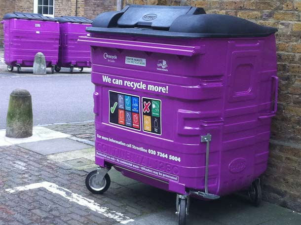 Purple recycle bins in Wapping