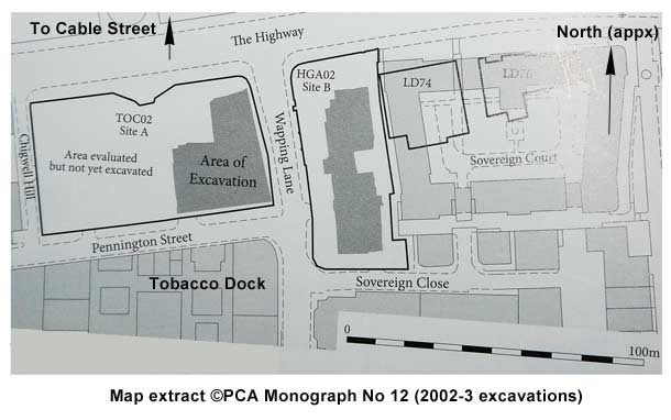 Tobacco Dock Archaeology Map