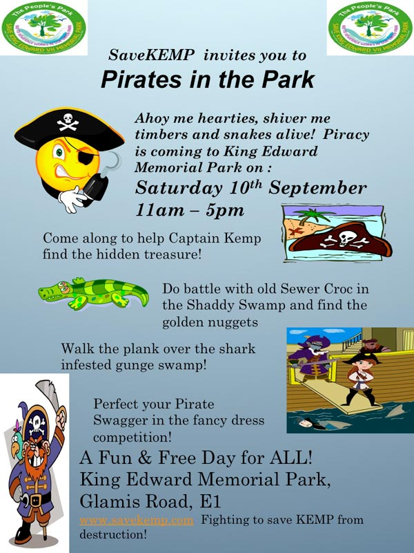 Poster for Save KEMP pirates in the park