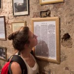 Image A Wilton's visitor reading recent press articles on the restoration project