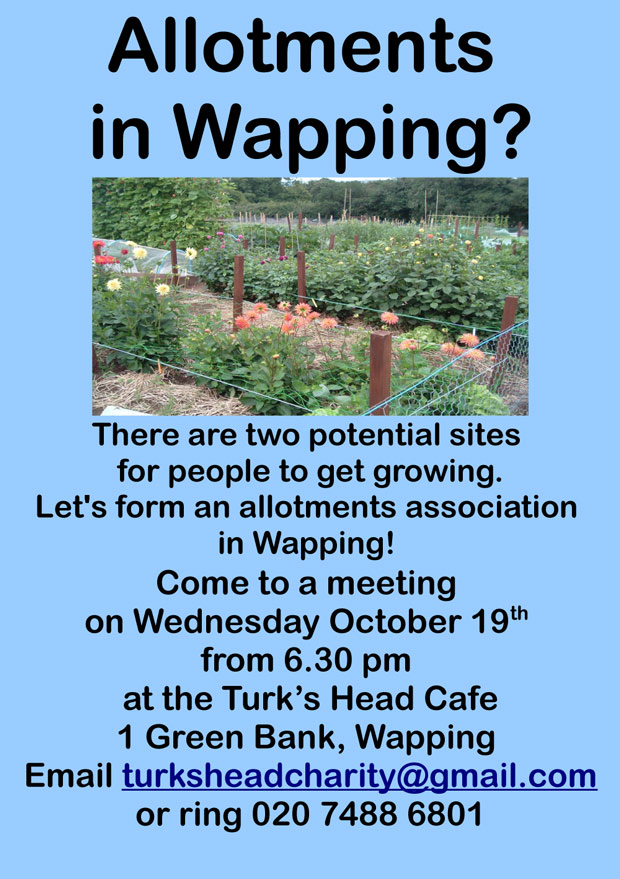 Flyer about allotments meeting from the Turks Head