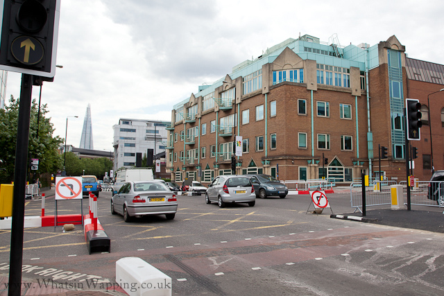 No left or right turns at Vaughan Way junction with the Highway in London E1