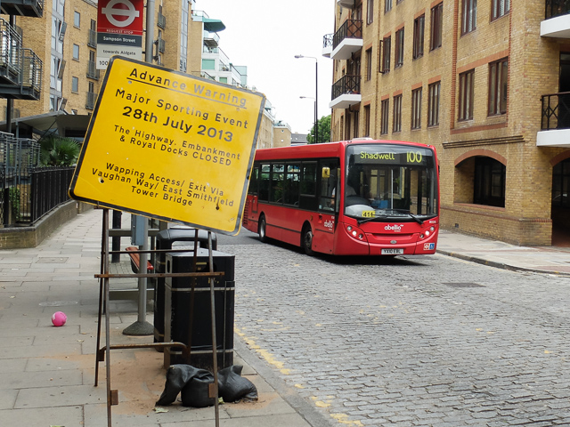 Bus diversions will significantly affect Wapping on 28th July during the London Triathlon