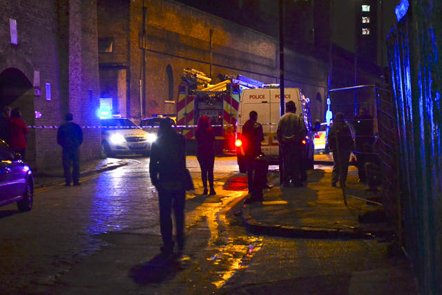 Emergency vehicles around Pennington Street in Wapping. Photo by Robbie Scott