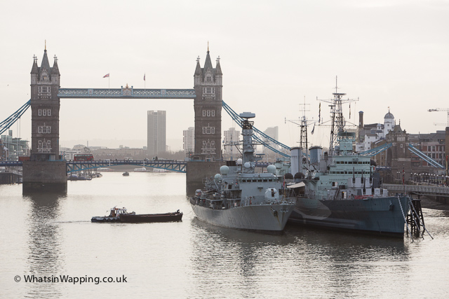 HMS Argyll at a temporary berth next to HMS Belfast on the River Thames
